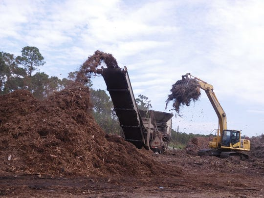 Yard waste is dug up at the Indian River County Landfill