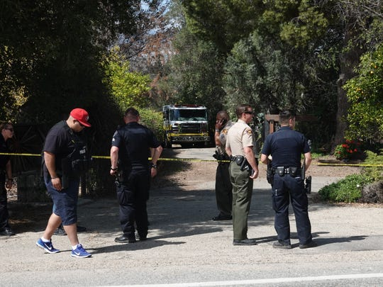 The area of a plane crash was cordoned off Saturday afternoon outside Santa Paula. Two people died in the small experimental aircraft.