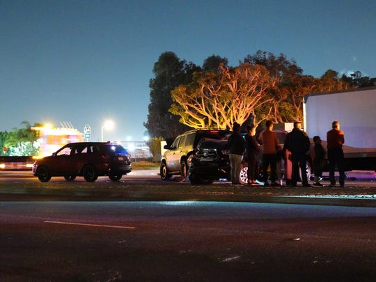 Ten vehicles were involved in a crash on Rose Avenue in Oxnard Monday night. Two people suffered minor injuries.