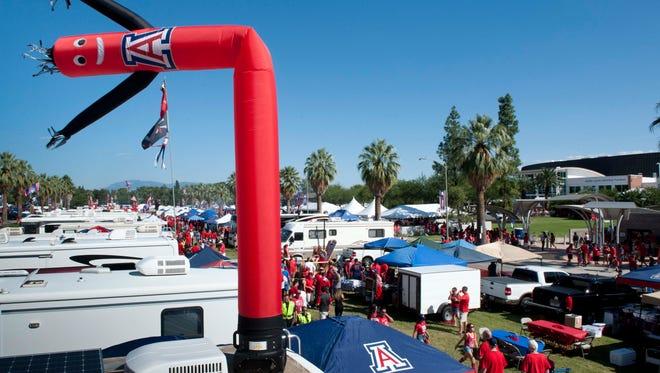 A view of the Arizona Wildcats tailgate area at Arizona Stadium.