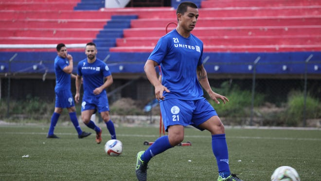 Guam's Marcus Lopez engages in a training drill during a practice session with the Matao in Bangalore, India. The Matao is set to play India on Nov. 12 for its sixth match of the 2018 FIFA World Cup Russia and AFC Asian Cup UAE 2019 Preliminary Joint Qualification Round 2. The team will return to Guam for a Nov. 17 match against I.R. Iran.