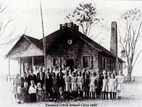 Shown about 1910, the Claymont Stone School earlier was called the Naaman Creek School. The site now serves as a community museum and center for activities, including a popular gingerbread house contest held in connection with the Claymont Christmas Parade.