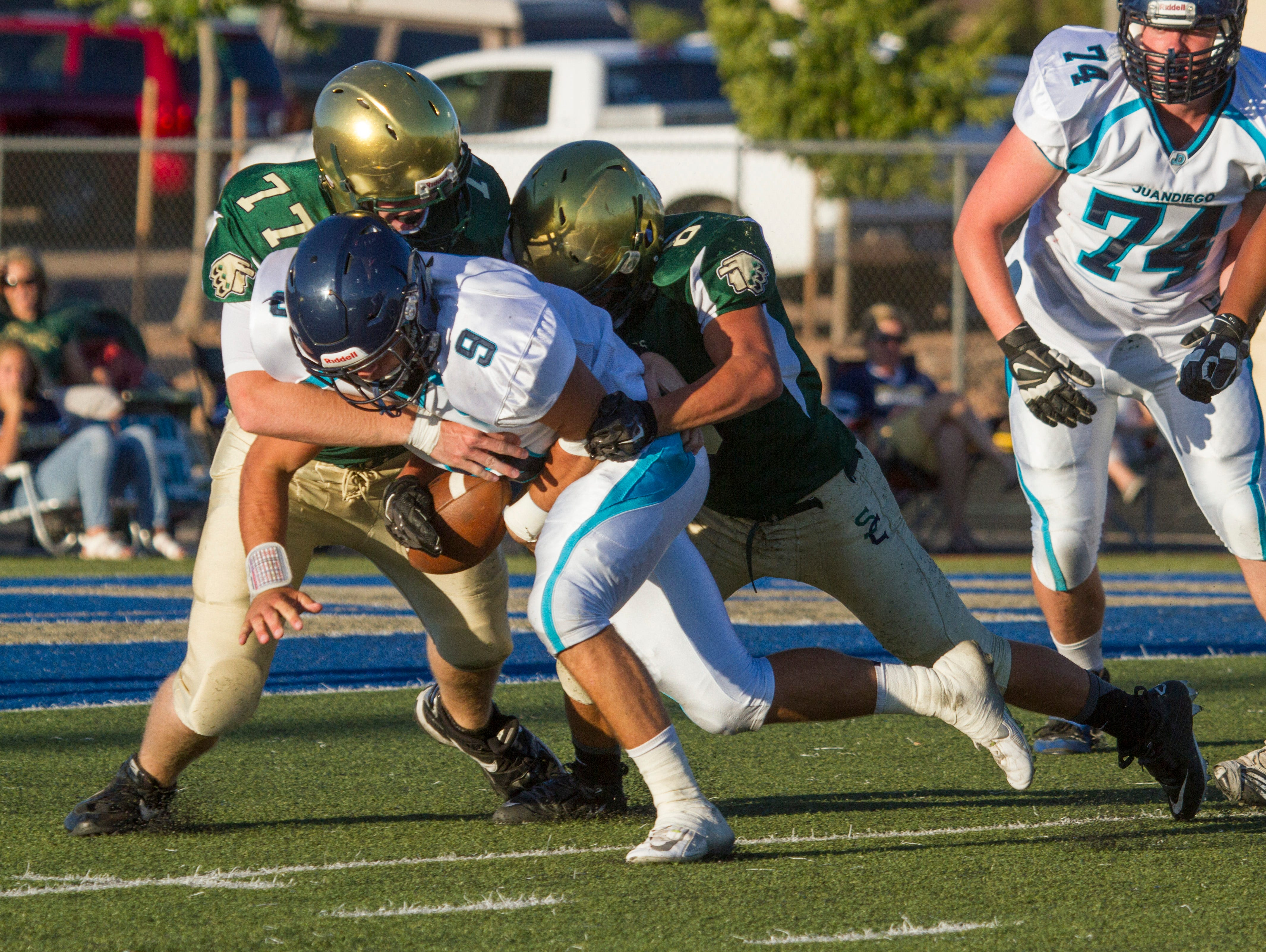Snow Canyon High hosts Juan Diego for their season-opening game Friday, Sept. 4, 2015.