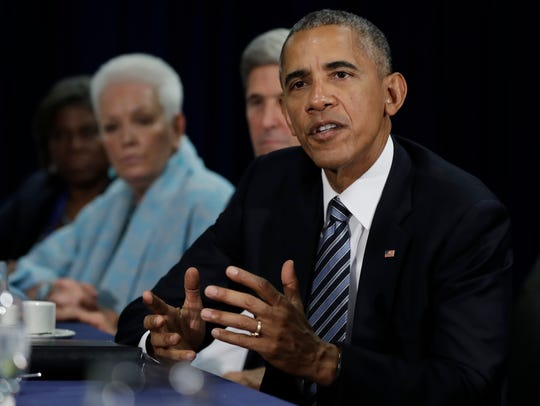 President Barack Obama, joined by Secretary of State