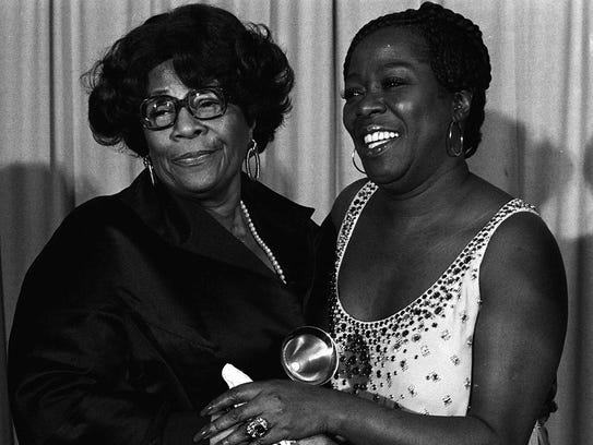 Two legends: In 1977, Ella Fitzgerald (left) and Sarah