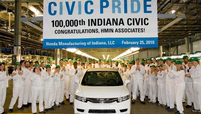 From 2010, here is the 100,000th Honda Civic produced at the Honda Manufacturing of Indiana plant in Greensburg, Ind. Honda now exports more than imports