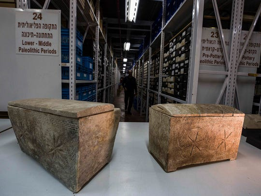 "Ossuaries with inscriptions with Hebrew letters forming the word ""Yeshua"", or Jesus, are stored in Israel's antiquities authority storeroom, in Beit Shemesh, Israel, Sunday, March 19, 2017. Israel's antiquities authority opened up its vast storeroom to reporters Sunday for a peek at select artifacts from the time of Jesus. Experts say they have yet to find direct archaeological evidence of the Jewish preacher who died on the cross and changed the course of history."