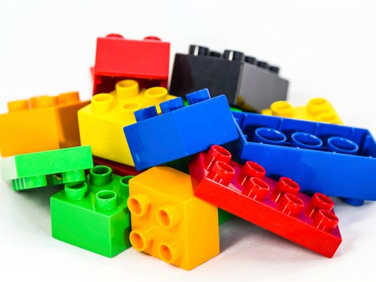 Kids can play with LEGOs together on Saturday at Linebaugh Library.