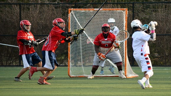 Yonkers midfielder Dante Cleare winds up before unleashing a shot on Peekskill goalie Nasier Bush during a 10-2 win over the Red Devils on Friday at Tibbetts Brook Park.