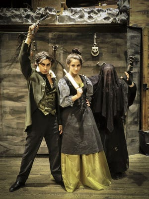 "From left, senior David Livingston (Sweeney Todd), senior Sophie Maahs (Mrs. Lovett), and junior Allison Weaver (Beggar Woman) are part of the Wausau East End Players cast of ""Sweeney Todd."""