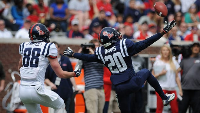 Ole Miss Carlos Davis, pictured in 2014, is one of the only seniors in a young secondary.