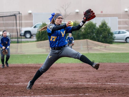 New Berlin West pitcher Cheyenne Sowinski winds up