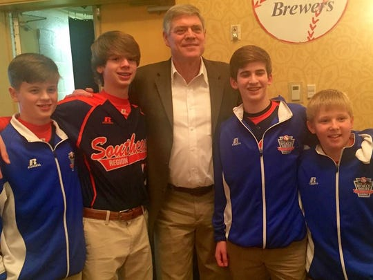 Former Braves outfielder Dale Murphy posed with some of the South Nashville All-Stars at the Nashville Old Timers Baseball Association banquet Thursday at Airport Marriott.