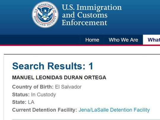 A screenshot from U.S. Immigration and Customs Enforcement's online detainee locator tool, taken on May 30, 2018.