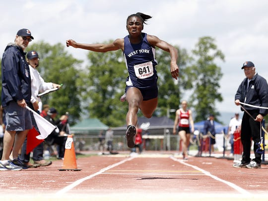 West York's Tesia Thomas, competes in the 3A triple
