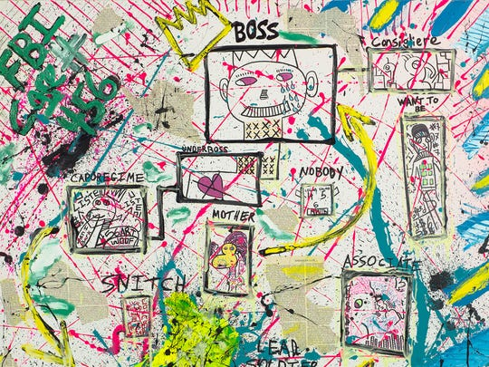 "A detail from ""FBI Case #456"" by Zevi G & Martin Schapira, 2016. Mixed media on canvas. 60"" x 48"""