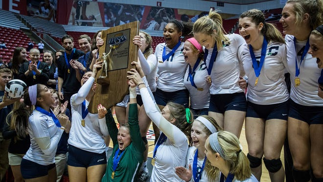 Cathedral celebrates its State Championship win against Carroll at Worthen Arena on Saturday, Nov. 7, 2015.