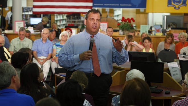 Gov. Chris Christie speaking at a town hall meeting in Wall Township earlier this week.