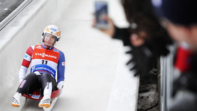 Summer Britcher, shown here at the Lake Placid World Cup in 2014, placed 11th in the first World Cup race of the season Saturday in Winterberg, Germany.