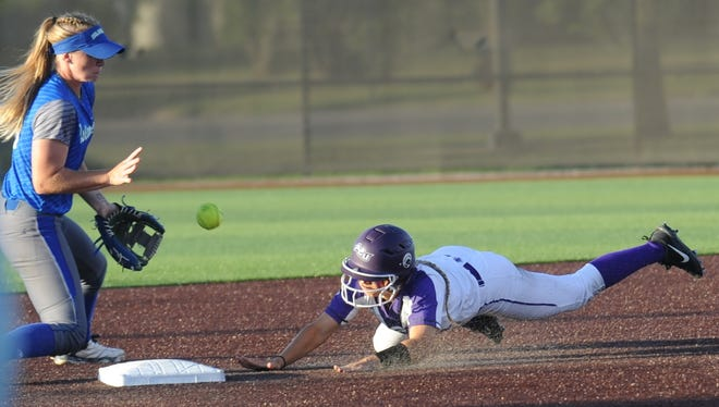 ACU's Peyton Hedrick steals second base in the first inning. Taylor Brown scored from third on the throw against Texas A&M-Corpus Christi in the second game of a doubleheader Friday, March 31, 2017 at Poly Wells Field. ACU won the game 7-2, after winning the opener 11-0 in five innings.