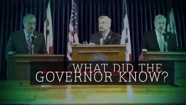 Screengrab from a Progress Iowa commercial asking when the governor knew about scandals.
