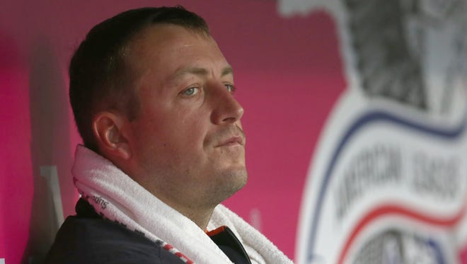 Starting pitcher Jordan Zimmermann #27 of the Detroit Tigers looks on from the dugout during the second inning against the Los Angeles Angels of Anaheim at Angel Stadium of Anaheim on May 12, 2017 in Anaheim, California.