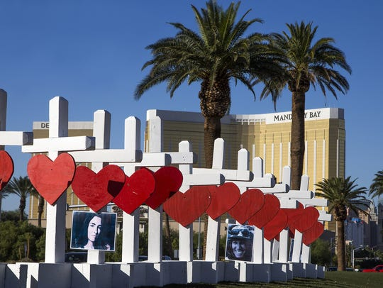 Artist Greg Zanis of Aurora, Ill., constructed 58 crosses to install them Oct. 5, 2017, on Las Vegas Blvd to honor the people killed in a mass shooting in Las Vegas.