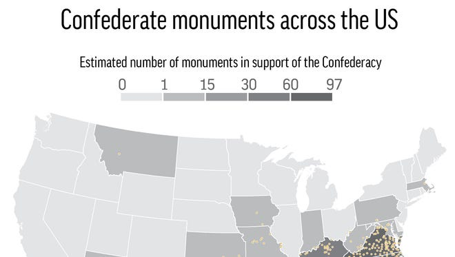 Map locates and totals up the estimated number of Confederate monuments in the U.S..