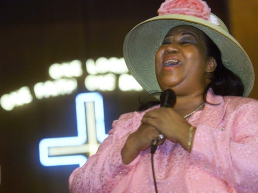 Aretha Franklin sings a gospel song during a gospel
