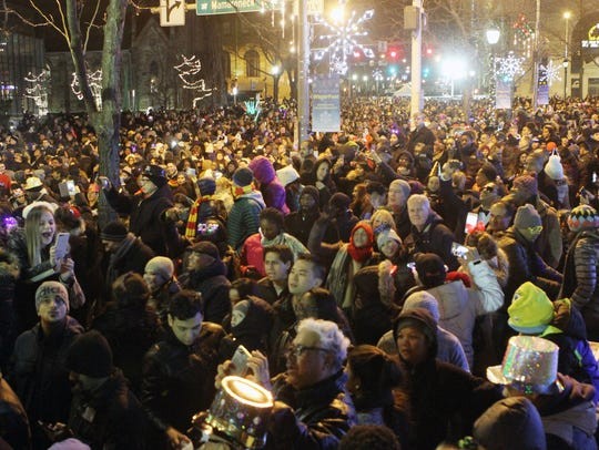 Thousands of revelers enjoy the festivities during the annual White Plains New Year's Eve Spectacular on Main Street in downtown White Plains.