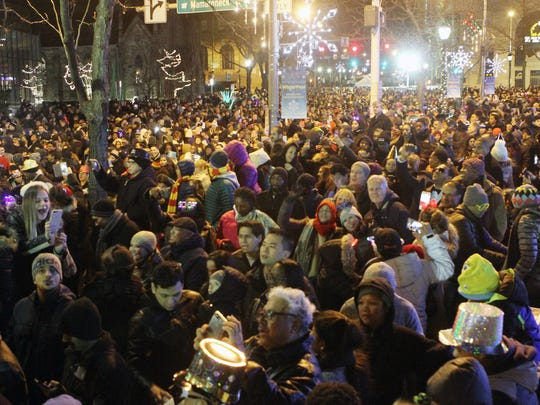 Thousands of revelers enjoy the festivities during the 17th annual White Plains New Year's Eve Spectacular on Main Street in downtown White Plains Jan. 1, 2017.