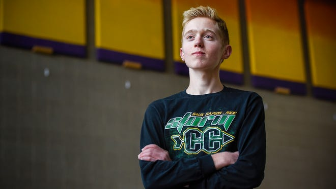 Sam Ringger, Sauk Rapids, is preparing to run in the State cross country meet Saturday shown Thursday, Nov. 2, at the Sauk Rapids-Rice High School.