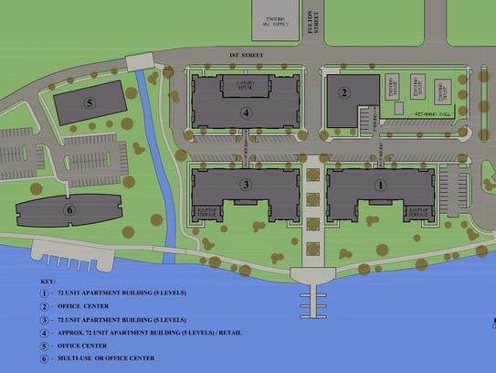 A site plan of River East Flats from Mosinee-based