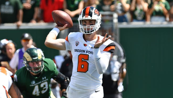 Aug 26, 2017; Fort Collins, CO, USA; Oregon State Beavers quarterback Jake Luton (6) passes the ball in the first quarter against the Oregon State Beavers at Sonny Lubrick Field at Colorado State Stadium. Mandatory Credit: Ron Chenoy-USA TODAY Sports