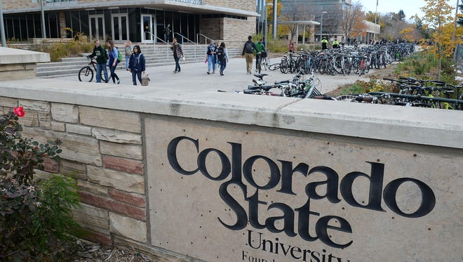 Colorado State University sign on campus.