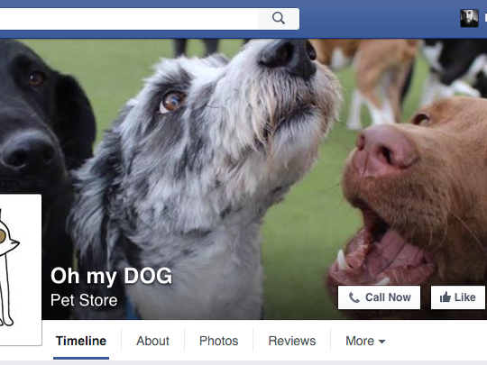 A screen shot of Oh my Dog's Facebook page.