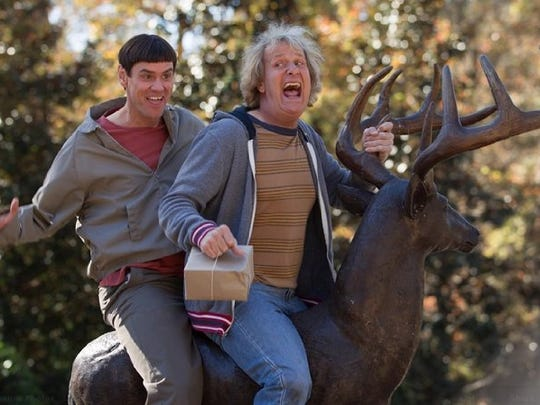 """Jim Carrey and Jeff Daniels in a scene from """"Dumb and Dumber To."""""""