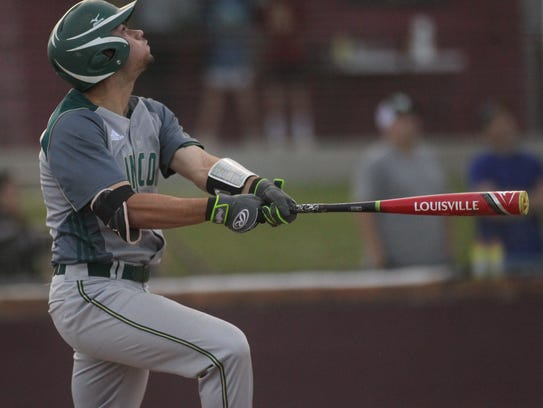 Lincoln's Josiah Miller watches a fly out to left field.