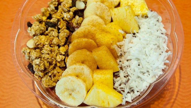 The InWave Restaurant and Juice Bar colada bowl features a base of coconut milk, banana, strawberries, akai and dates, all blended and chilled. The mixture is then topped with granola, raisins, banana, pineapple and shredded coconut.Feb. 12, 2018