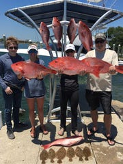 The Walter family with some nice red snapper they caught