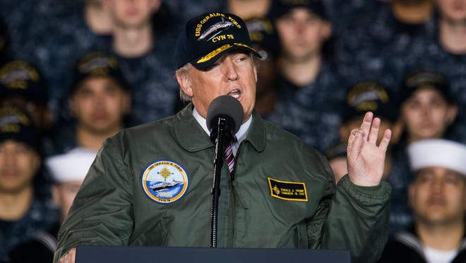 President Donald J. Trump  aboard the Gerald R. Ford aircraft carrier.