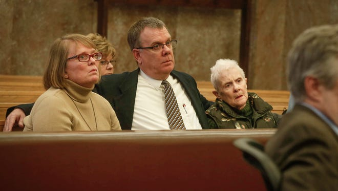 Family of Susan Thompson attend a hearing for Michael Wright of Ankeny on Friday, Feb. 24, 2017, at the Polk County Courthouse in Des Moines. Wright is being charged with vehicular homicide in the drunk driving accident which resulted Thompson's death in April, 2016.