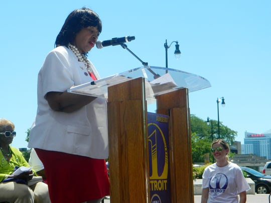 Detroit City Council President Brenda Jones speaks to a crowd gathered during a rally for higher wages outside of the Coleman A. Young Municipal Center on Thursday, June 14, 2018.
