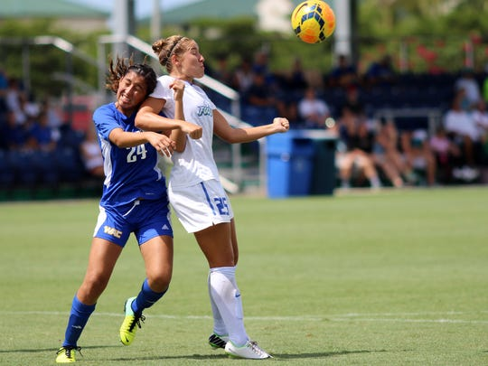 Tabby Tindell fights for a header during the Eagles' game against CSU Bakersfield Sunday afternoon.