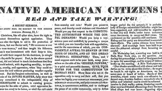 """An 1842 broadside calling on """"native"""" Rhode Islanders to resist giving the vote to Irish immigrants, from Patrick Conley's personal collection."""