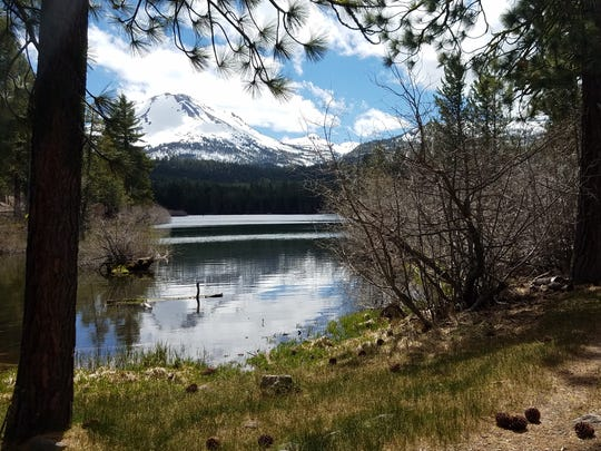 Lassen Volcanic National Park's Manzanita Lake Loop Trail affords views of Lassen Peak.