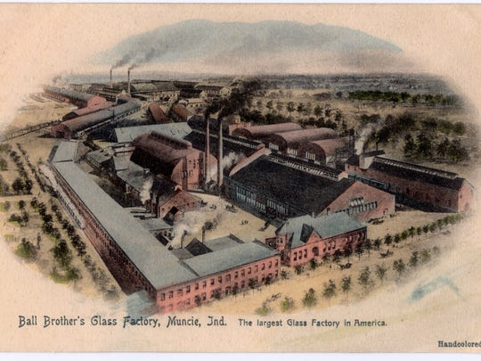 This postcard provides an aerial view of Ball Brothers