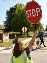 Wanda Valentine fills in for another crossing guard