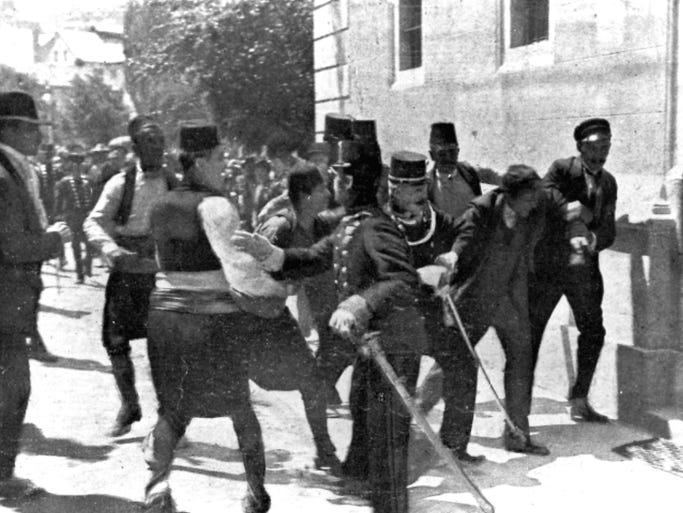 Bosnian Serb Gavrilo Princip, second right, is captured by police in Sarajevo, Yugoslavia, on June 28, 1914. Princip fired the shots that killed Archduke Franz Ferdinand, heir to the Austrian-Hungarian throne, and his wife Sophie.