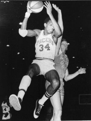 Mel Daniels of the Indiana Pacers (34) is shown during game action against the Miami Floridians, April 5, 1969, in Indianapolis.  (AP Photo)